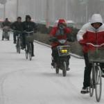 中国瀋陽の遅い初雪